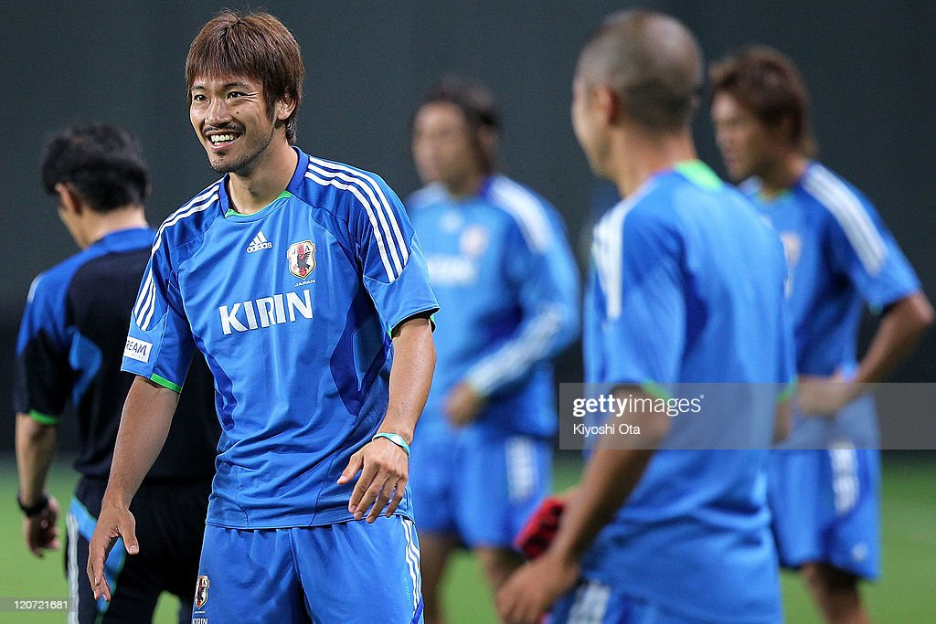 Yuki Abe smiles during the Japan national team training session ahead of the Kirin Challenge Cup international friendly match against South Korea at Sapporo Dome on August 9, 2011 in Sapporo, Japan.