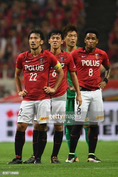 Yuki Abe Wataru Endo Shusaku Nishikawa and Rafael Silva of Urawa Red Diamonds react after their 22 draw in the JLeague J1 match between Urawa Red...