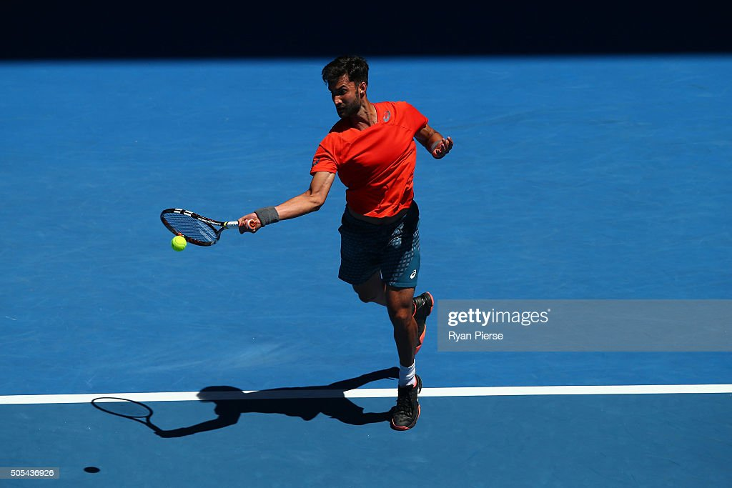 <a gi-track='captionPersonalityLinkClicked' href=/galleries/search?phrase=Yuki+Bhambri&family=editorial&specificpeople=4835849 ng-click='$event.stopPropagation()'>Yuki Bhambri</a> of India plays a forehand his first round match against Tomas Berdych of the Czech Republic during day one of the 2016 Australian Open at Melbourne Park on January 18, 2016 in Melbourne, Australia.
