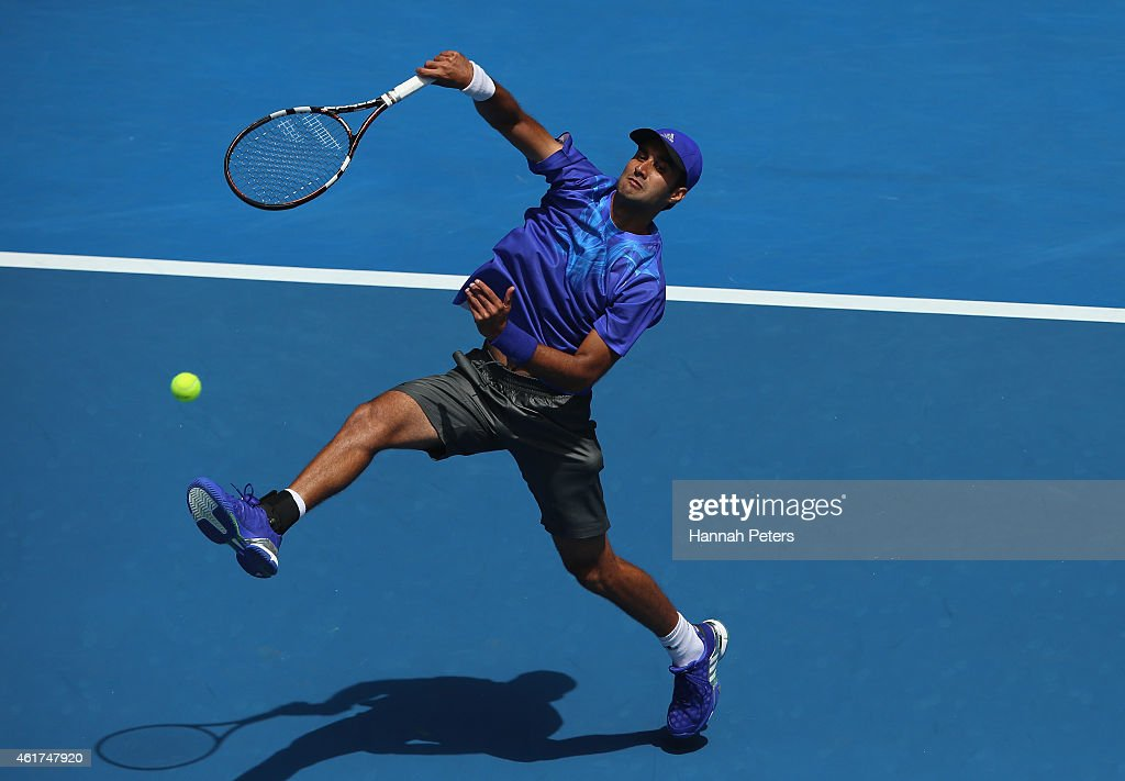 <a gi-track='captionPersonalityLinkClicked' href=/galleries/search?phrase=Yuki+Bhambri&family=editorial&specificpeople=4835849 ng-click='$event.stopPropagation()'>Yuki Bhambri</a> of India plays a forehand in his first round match against Andy Murray of Great Britain during day one of the 2015 Australian Open at Melbourne Park on January 19, 2015 in Melbourne, Australia.