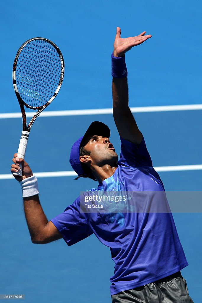 <a gi-track='captionPersonalityLinkClicked' href=/galleries/search?phrase=Yuki+Bhambri&family=editorial&specificpeople=4835849 ng-click='$event.stopPropagation()'>Yuki Bhambri</a> of India serves in his first round match against Andy Murray of Great Britain during day one of the 2015 Australian Open at Melbourne Park on January 19, 2015 in Melbourne, Australia.