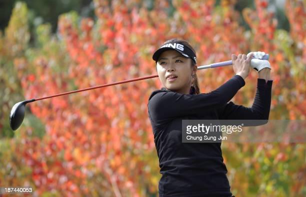 Yuki Ichinose of Japan hits a tee shot on the 2nd hole during the second round of the Mizuno Classic at Kintetsu Kashikojima Country Club on November...