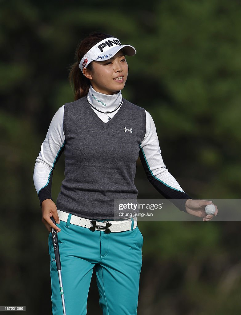 Yuki Ichinose of Japan reacts after a shot on the 18th hole during the final round of the Mizuno Classic at Kintetsu Kashikojima Country Club on November 10, 2013 in Shima, Japan.