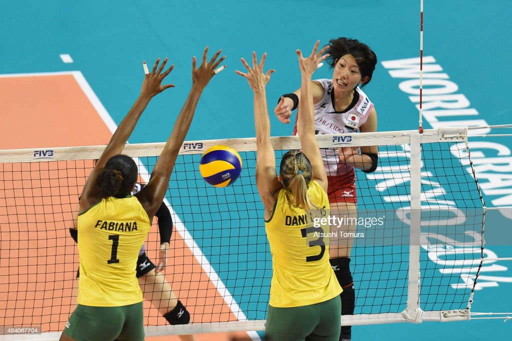 <a gi-track='captionPersonalityLinkClicked' href=/galleries/search?phrase=Yuki+Ishii&family=editorial&specificpeople=11315097 ng-click='$event.stopPropagation()'>Yuki Ishii</a> of Japan spikes the ball during the FIVB World Grand Prix Final group one match between Brazil and Japan on August 24, 2014 in Tokyo, Japan.