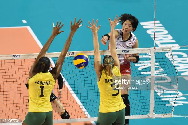 Yuki Ishii of Japan spikes the ball during the FIVB World Grand Prix Final group one match between Brazil and Japan on August 24 2014 in Tokyo Japan