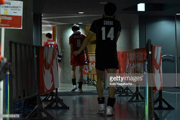 Yuki Ishikawa and Masahiro Yanagida and Daisuke Sakai leave the court after the Men's World Olympic Qualification game between France and Japan at...