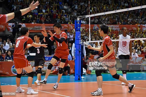 Yuki Ishikawa of Japan celebrates a point during the Men's World Olympic Qualification game between Japan and Venezuela at Tokyo Metropolitan...