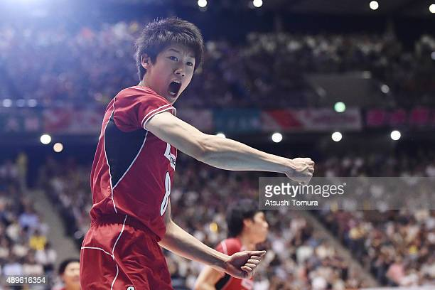Yuki Ishikawa of Japan celebrates after winning a point in the match between Japan and Russia during the FIVB Men's Volleyball World Cup Japan 2015...