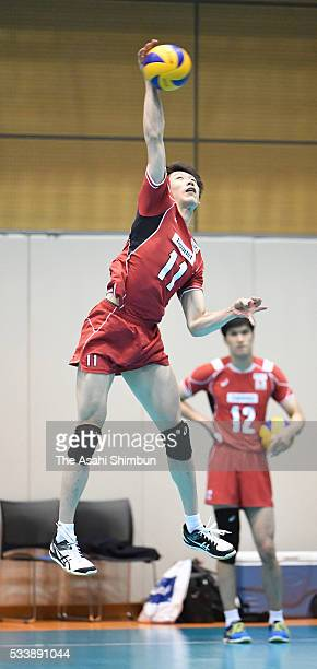 Yuki Ishikawa of Japan in training ahead of the Men's World Olympic Qualification at the National Training Center on May 23 2016 in Tokyo Japan