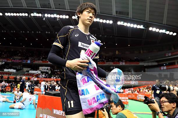 Yuki Ishikawa of Japan leaves the court after his team's defeat against Iran in the Men's World Olympic Qualification game between Japan and Iran at...