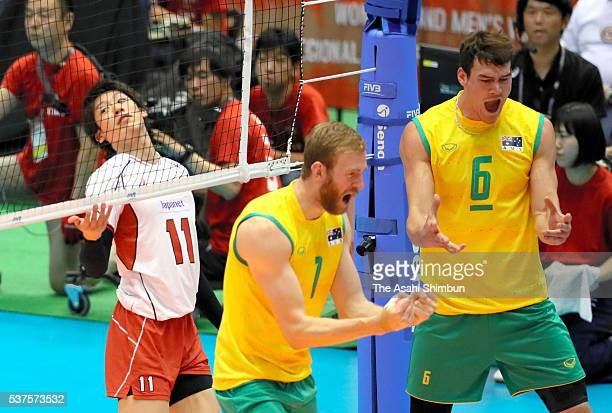 Yuki Ishikawa of Japan reacts after his spike being blocked during the Men's World Olympic Qualification game between Australia and Japan at Tokyo...