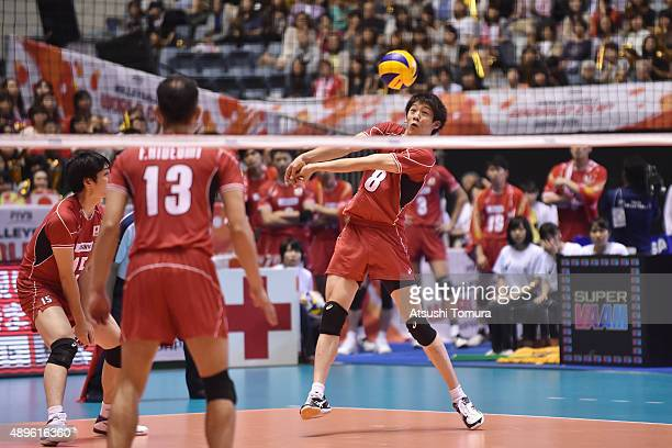 Yuki Ishikawa of Japan receives in the match between Japan and Russia during the FIVB Men's Volleyball World Cup Japan 2015 at Yoyogi National...