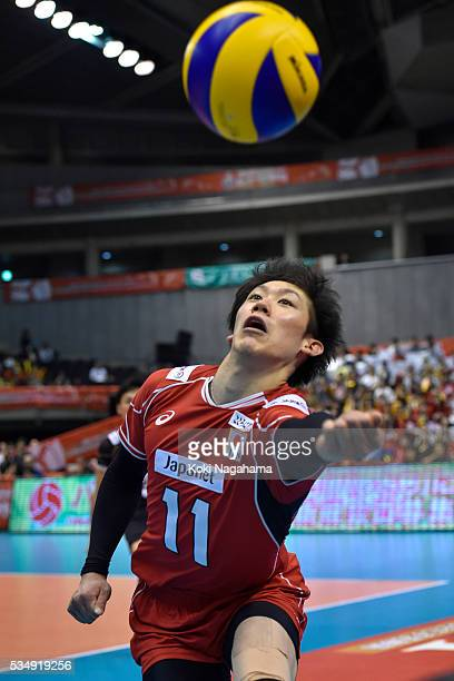 Yuki Ishikawa of Japan receives the ball during the Men's World Olympic Qualification game between Japan and Venezuela at Tokyo Metropolitan...