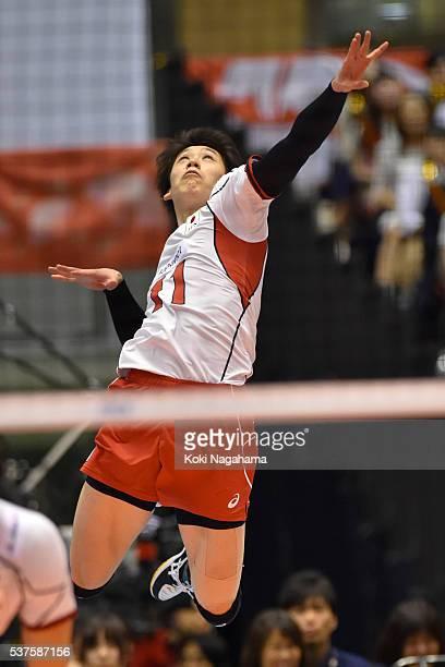 Yuki Ishikawa of Japan serves during the Men's World Olympic Qualification game between Australia and Japan at Tokyo Metropolitan Gymnasium on June 2...