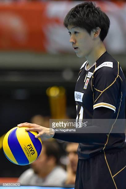 Yuki Ishikawa of Japan serves the ball during the Men's World Olympic Qualification game between Japan and Iran at Tokyo Metropolitan Gymnasium on...