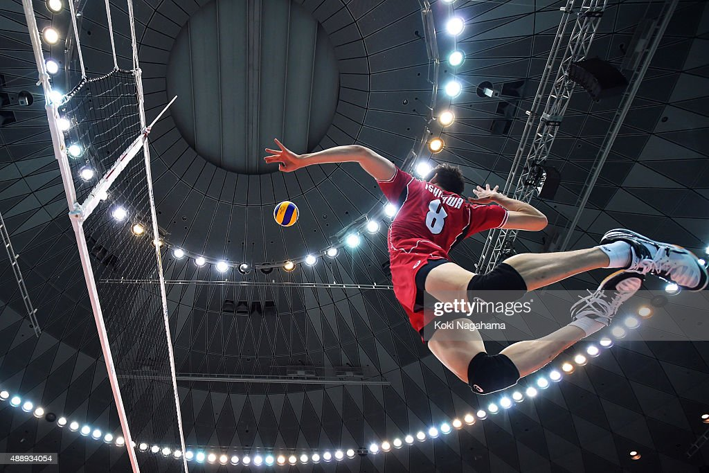 Yuki Ishikawa of Japan spikes before the match against Iran during the FIVB Men's Volleyball World Cup Japan 2015 at the Osaka Municipal Central...