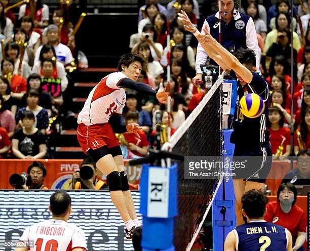 Yuki Ishikawa of Japan spikes during the Men's World Olympic Qualification Tournament between Japan and China at the Tokyo Metropolitan Gymnasium on...