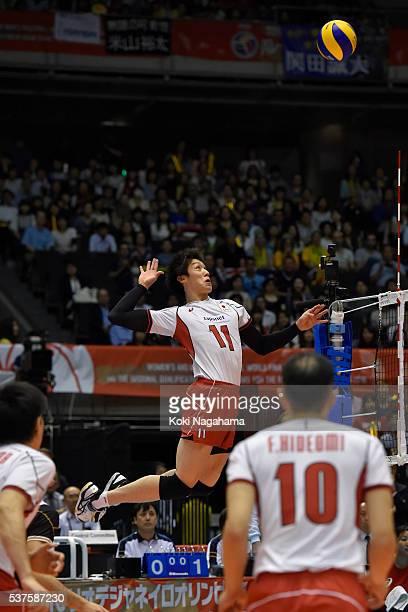 Yuki Ishikawa of Japan sspikes the ball during the Men's World Olympic Qualification game between Australia and Japan at Tokyo Metropolitan Gymnasium...