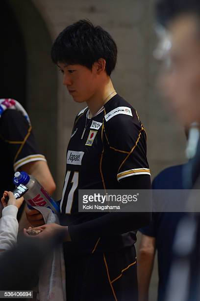 Yuki Ishikawa of Japan talks to the media in the mixed zon after losing the Men's World Olympic Qualification game between Japan and Iran at Tokyo...