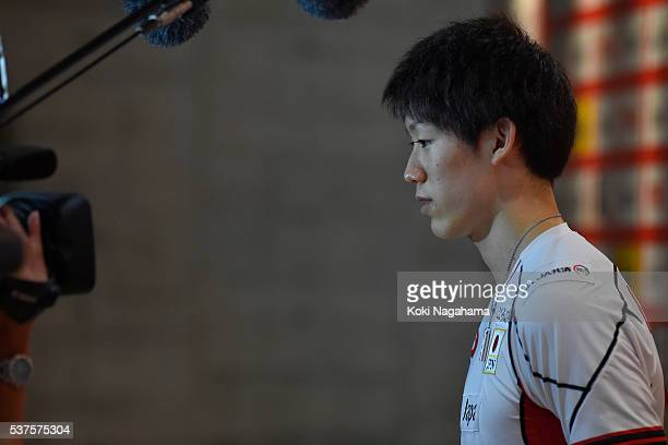 Yuki Ishikawa of Japan talks to the media in the mixzone after losing the Men's World Olympic Qualification game between Australia and Japan at Tokyo...