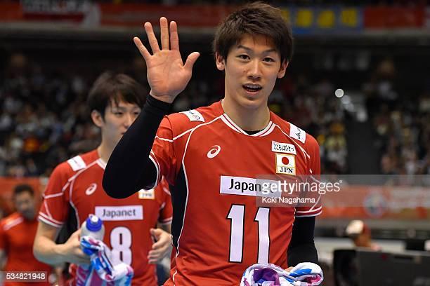 Yuki Ishikawa of Japan waves for fans during the Men's World Olympic Qualification game between Japan and Venezuela at Tokyo Metropolitan Gymnasium...