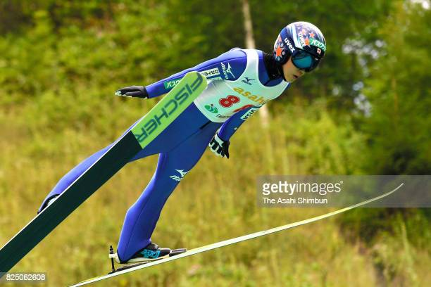 Yuki Ito competes in the first jump during the All Japan Junior Ladies Summer Ski Jumping Championships at the Asahi Sanbodai Schanze on July 29 2017...