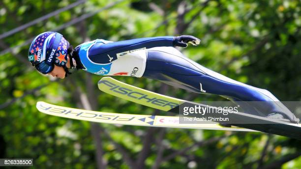 Yuki Ito competes in the first jump in the women's event during the Miyanomori Sumemr Ski Jumping Championships at Miyanomori Jump Stadium on August...