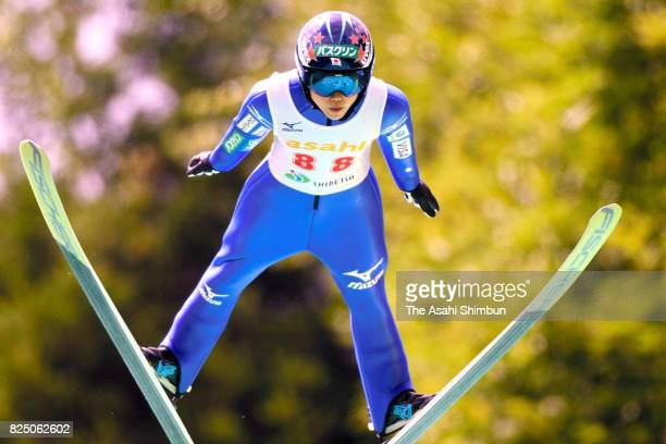 Yuki Ito competes in the second jump during the All Japan Junior Ladies Summer Ski Jumping Championships at the Asahi Sanbodai Schanze on July 29...