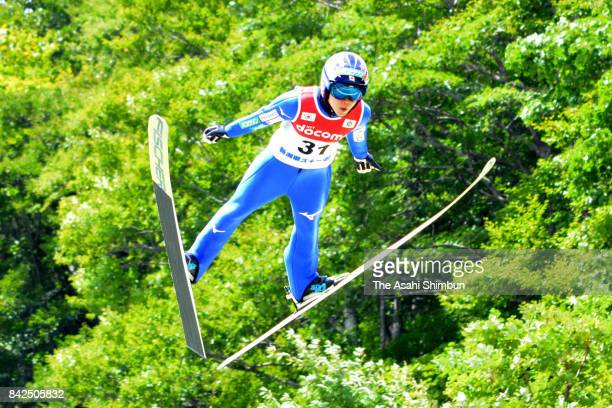 Yuki Ito competes in the second jump during the Myoko Summer Ski Jumping Championship at Akakura Schanze on September 3 2017 in Myoko Niigata Japan