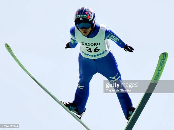 Yuki Ito competes in the second jump in the Women's event during the Nayoro Sum Pillar Summer Ski Jumping Championships at Nayoro Piyarishi Jump...