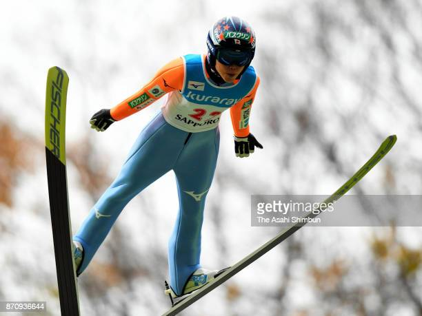 Yuki Ito competes in the women's event during the 11th Ito Cup Okurayama Summer Ski Jumping Championships at Okurayama Jump Stadium on November 4...