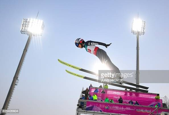 TOPSHOT Yuki Ito of Japan competes during the first round of the normal hill individual event at the FIS Ski Jumping World Cup in Pyeongchang on...