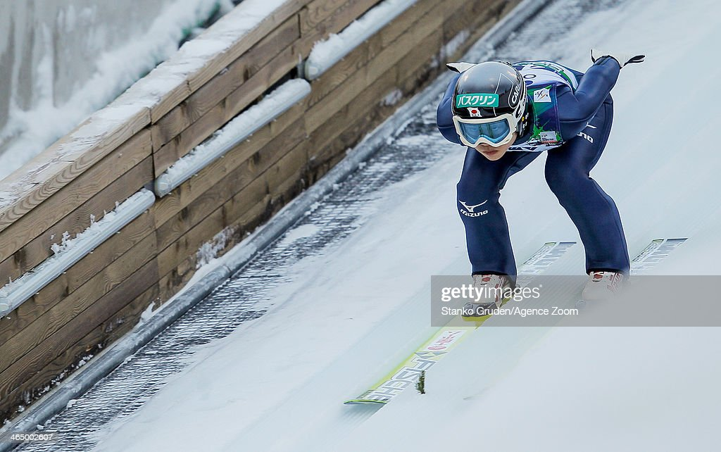 Yuki Ito of Japan competes during the FIS Ski Jumping World Cup Women's HS95 on January 25, 2014 in Planica, Slovenia.