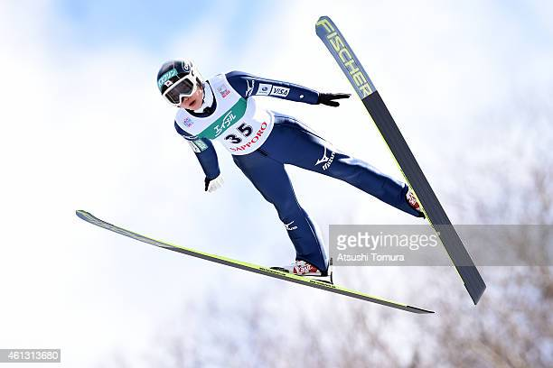 Yuki Ito of Japan competes in the normal hill individual first round during the FIS Women's Ski Jumping World Cup Sapporo at Miyanomori Ski Jump...
