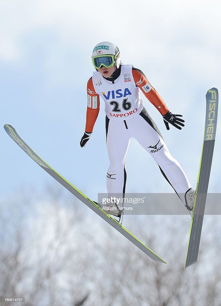 Yuki Ito of Japan in action during day one of the FIS Women's Ski Jumping World Cup at Miyanomori Jump Stadium on February 2, 2013 in Sapporo, Japan.