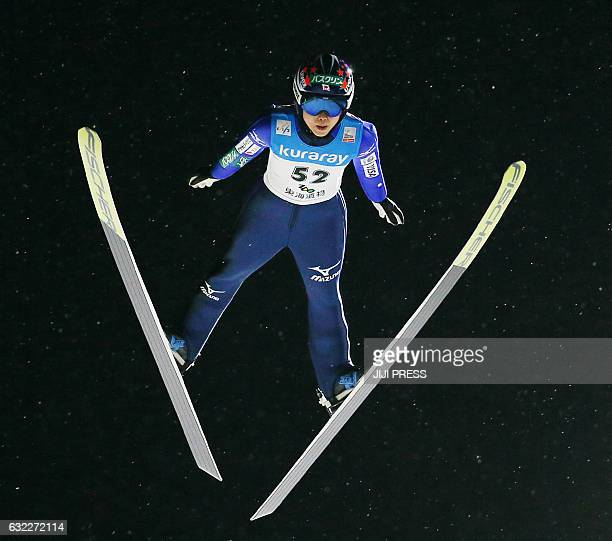 Yuki Ito of Japan jumps during the first round of the women's ski jumping World Cup event at Zao near Yamagata city in Yamagata prefecture on January...