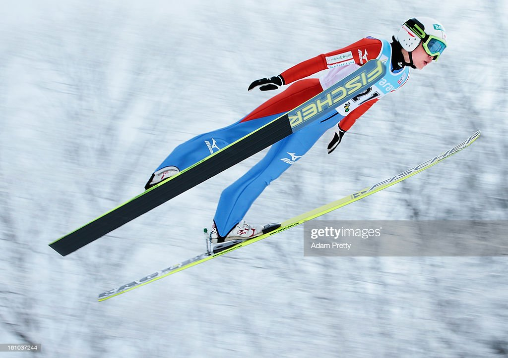 Yuki Ito of Japan jumps in the first round of competition during day one of the FIS Women's Ski Jumping World Cup at Zao Jump Stadium on February 9, 2013 in Yamagata, Japan.