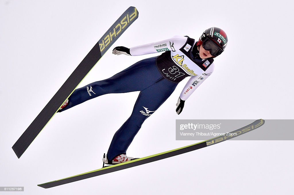 Yuki Ito of Japan takes 3rd place during the FIS Nordic World Cup Women's Ski Jumping HS100 on February 19, 2016 in Lahti, Finland.