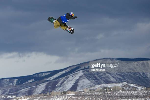 Yuki Kadono goes for a grab on his third run during Snowboard Slopestyle Men's Final at Winter X Games 2016 at Buttermilk Mountain on January 29 2016...