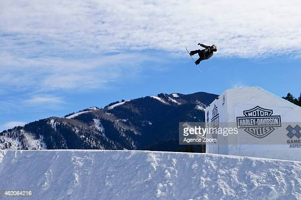 Yuki Kadono of Japan competes during the Winter X Games America's Navy Snowboard Big Air on January 23 2015 in Aspen Colorado