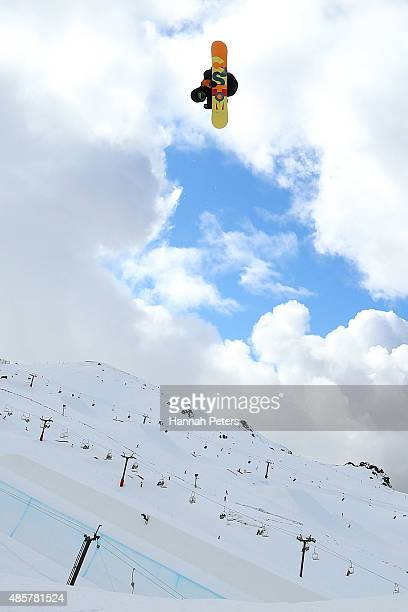 Yuki Kadono of Japan competes in the Snowboard AFP Freeski Big Air Finals during the Winter Games NZ at Cardrona Alpine Resort on August 30 2015 in...