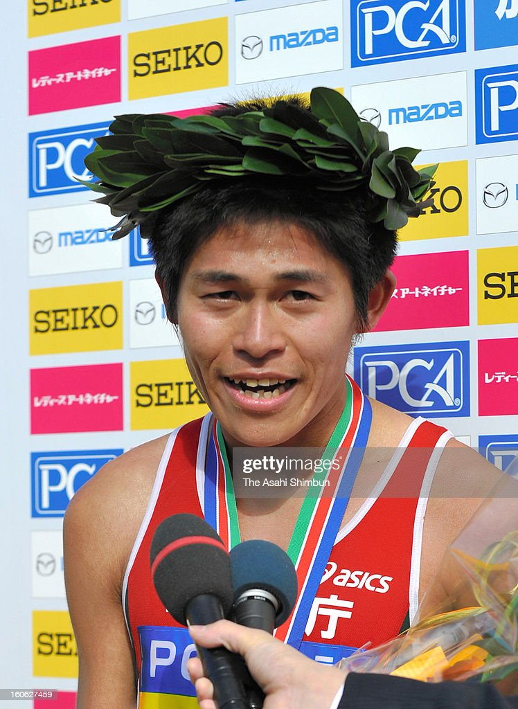 Yuki Kawauchi is interviewed after winning in the 62nd Beppu-Oita Mainichi Marathon at Oita City Stadium on February 3, 2013 in Oita, Japan.
