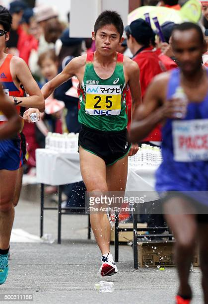 Yuki Kawauchi of Japan competes during the 69th Fukuoka International Open Marathon Championship on December 6 2015 in Fukuoka Japan