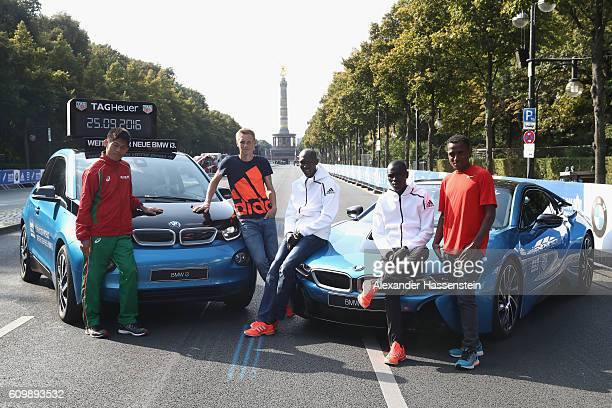 Yuki Kawauchi of Japan Steffen Uliczka of Germany former world record holder Wilson Kipsang of Kenya Emmanuel Mutai of Kenya and Ethiopia's Kenenisa...