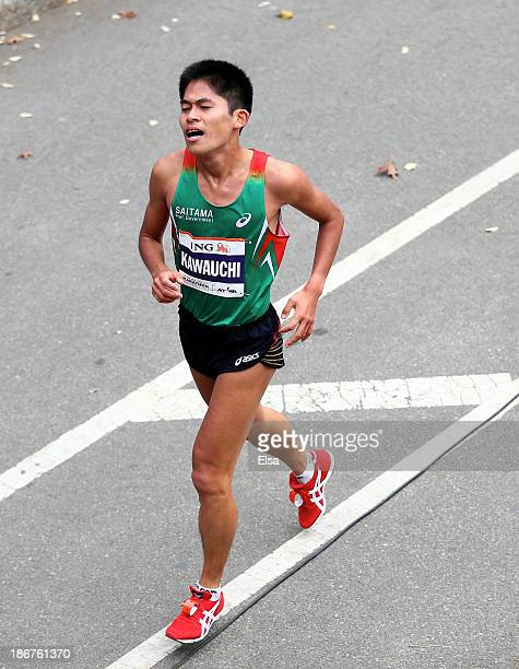 Yuki Kawauchi runs during the 2013 ING New York City Marathon on November 3 2013 in New York City