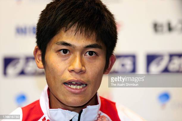 Yuki Kawauchi speaks during a press conference ahead of the Men's Marathon of the 14th IAAF World Athletics Championships Moscow 2013 on August 15...