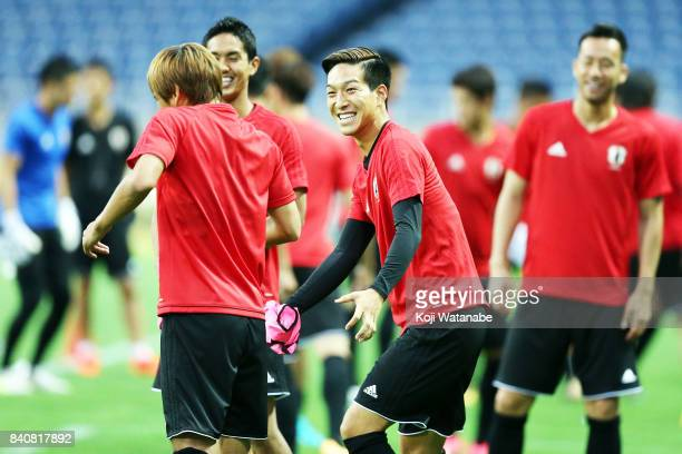 Yuki Kobayashi in action during a Japan training session/press conference ahead of the FIFA World Cup qualifier against Australia at Saitama Stadium...