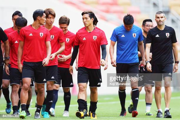 Yuki Kobayashi in action during a training session/press conference ahead of the FIFA World Cup qualifier against Saudi Arabia at King Abdullah...