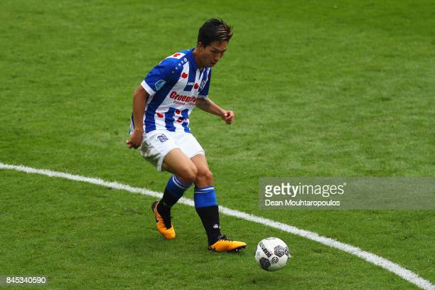 Yuki Kobayashi of Heerenveen in action during the Dutch Eredivisie match between SC Heerenveen and PSV Eindhoven held at Abe Lenstra Stadium on...