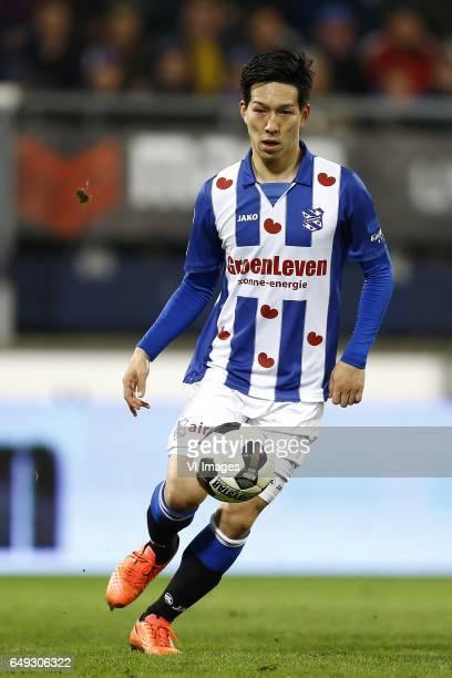Yuki Kobayashi of Heerenveenduring the Dutch Eredivisie match between sc Heerenveen and Go Ahead Eagles at Abe Lenstra Stadium on March 03 2017 in...